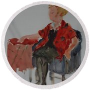 Lady In Chair Round Beach Towel