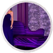 Lady In Lilac Room Round Beach Towel