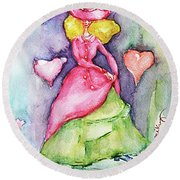 Lady In Love Round Beach Towel