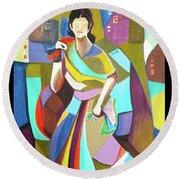 Lady In Mosaic Round Beach Towel