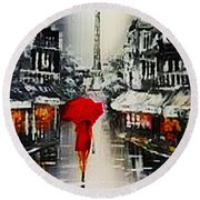 Lady In Paris Round Beach Towel
