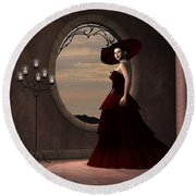 Lady In Red Dress Round Beach Towel