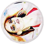 Lady In Red Framed Watercolour Painting Round Beach Towel