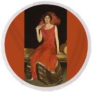 Lady In Red - Mrs Owen Barton Jones Round Beach Towel