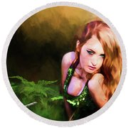 Lady In The Ferns Round Beach Towel