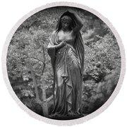 Lady In The Garden 2 Round Beach Towel