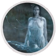 Lady In The Lake Round Beach Towel