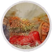 Lady In The Leaves 1 Round Beach Towel