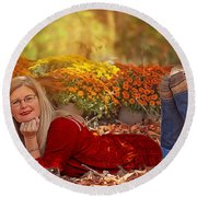 Lady In The Leaves Round Beach Towel