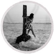Lady In The Surf Round Beach Towel