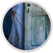 Lady In Vintage Clothing Hiding Behind Old Door Round Beach Towel by Jill Battaglia
