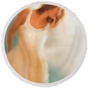 Lady In White Round Beach Towel