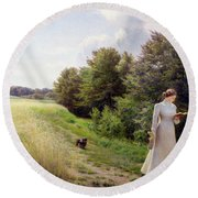 Lady In White Reading  Round Beach Towel