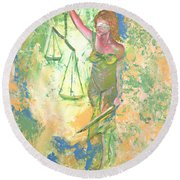 Lady Justice And The Man Round Beach Towel