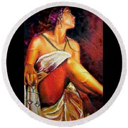 Lady Justice Mini Round Beach Towel