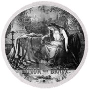 Lady Liberty Mourns During The Civil War Round Beach Towel