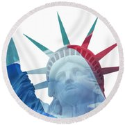 Lady Liberty With French Flag Round Beach Towel