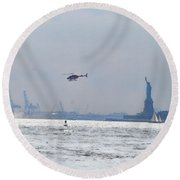 Lady Liberty's Typical Day Round Beach Towel