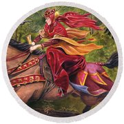 Lady Lunete Round Beach Towel by Melissa A Benson