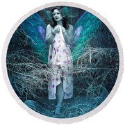 Lady Of Forest Round Beach Towel