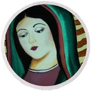 Lady Of Guadalupe Round Beach Towel