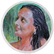 Lady Of India Round Beach Towel