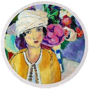 Lady Of Le Piviones Round Beach Towel