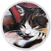 Lady Of The House Close-up Round Beach Towel