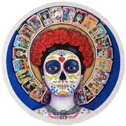 Lady Of The Loteria Round Beach Towel