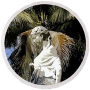 Lady Of The Palms Round Beach Towel