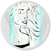 Lady Of The Water Round Beach Towel