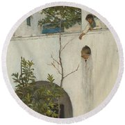 Lady On A Balcony, Capri Round Beach Towel