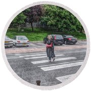 Lady On A Crossing Round Beach Towel