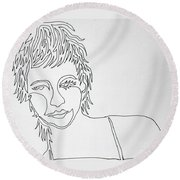 Lady On A Line Round Beach Towel