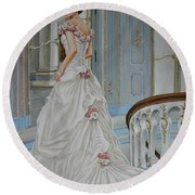 Lady On The Staircase Round Beach Towel