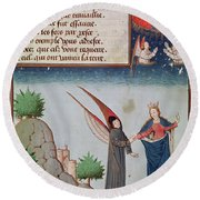 Lady Philosophy Leads Boethius In Flight Into The Sky On The Wings That She Has Given Him Round Beach Towel