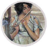 Lady Playing Flute Round Beach Towel