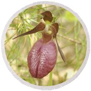 Lady Slipper Blossom Round Beach Towel
