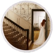 Lady Standing In A Doorway Round Beach Towel