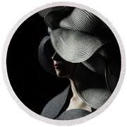 Lady With A Big Hat Round Beach Towel