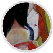 Lady With A Mask Round Beach Towel