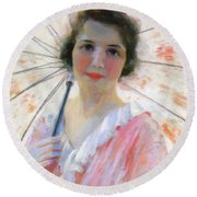 Lady With A Parasol 1921 Round Beach Towel