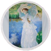 Lady With A Parasole  Round Beach Towel