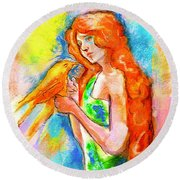 Lady With Canary Round Beach Towel