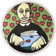 Lady With Fish Bowl Round Beach Towel by Thomas Valentine