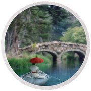 Lady With Parasol In Boat Round Beach Towel