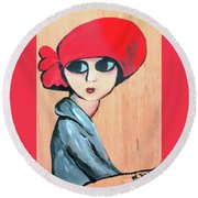 Lady With Red Hat Round Beach Towel