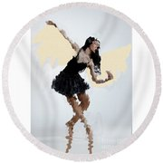 Lady With Wings Round Beach Towel