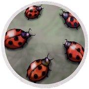 Ladybugs Round Beach Towel