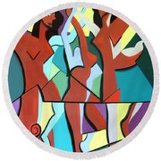 Ladys In Red Round Beach Towel